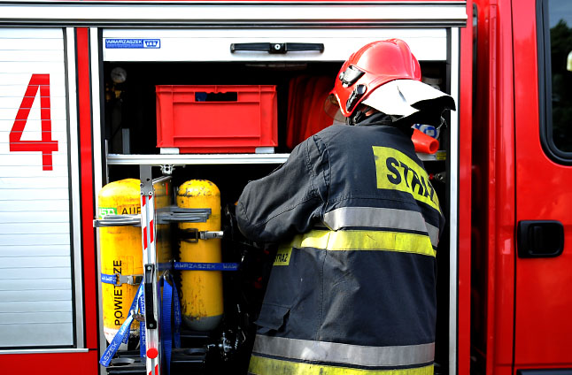Pożar budynku w Płotach