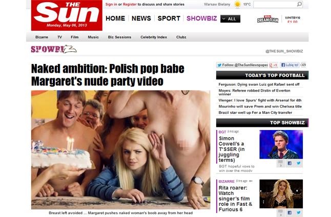 """Brytyjski """"The Sun"""" pisze o wokalistce z Ińska. Tabloid zainteresował się klipem do piosenki Małgorzaty Jamroży, w którym wszyscy aktorzy - poza Margaret - są nadzy. Fot. www.thesun.co.uk"""