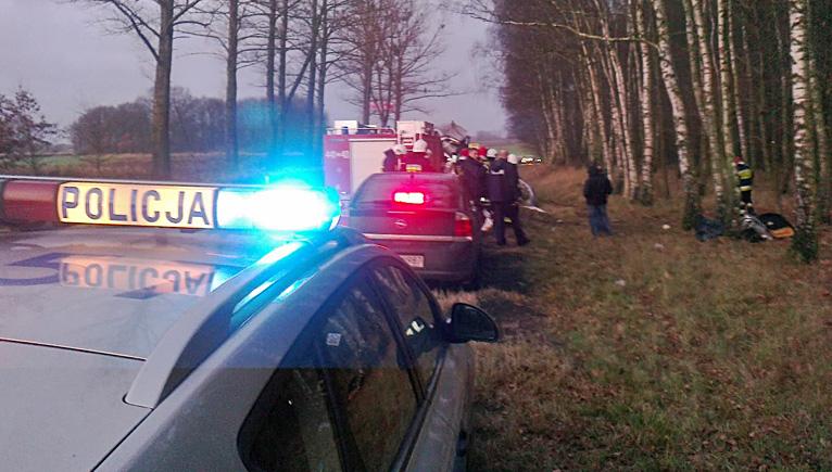 Dwie osoby zginęły w wypadku na drodze nr 6 w rejonie miejscowości Modlimowo koło Płotów. Fot. Łukasz Szełemej [Radio Szczecin]