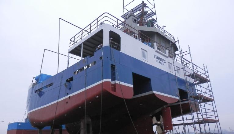 """W prywatnej stoczni Poltramp Yard - na potrzeby norweskiej firmy - powstał trimaran """"Torres"""". Fot. Poltramp Yard"""