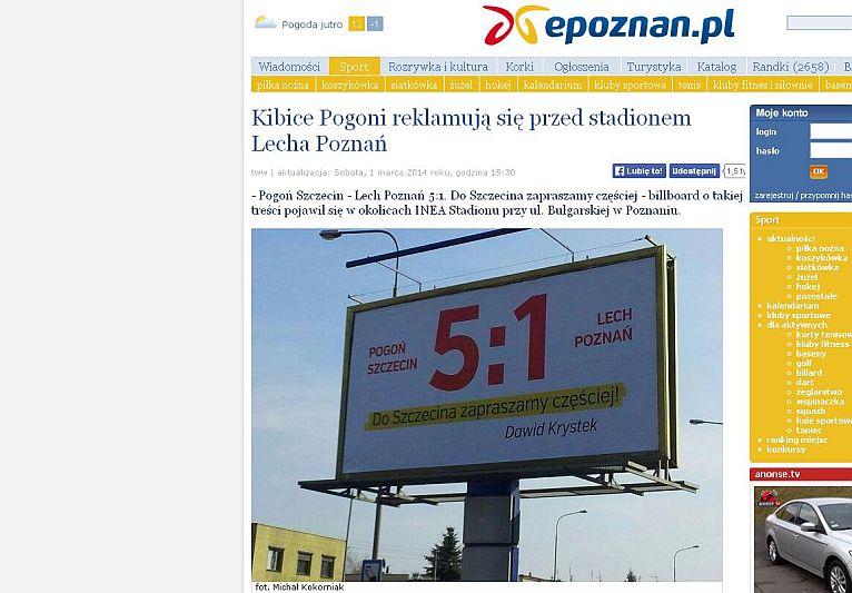 Nietypowy billboard w Poznaniu. Czy zamówił go radny ze Szczecina?