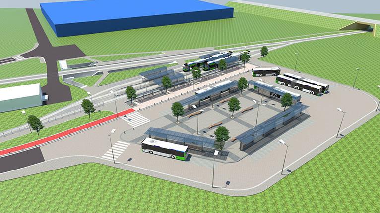 Będą nowe drogi, ścieżki rowerowe i parking dla nich, a także pętla autobusowa z czterema zadaszonymi wiatami dla podróżnych. Fot. UM Szczecin