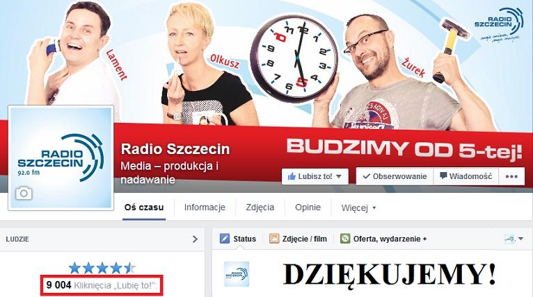 9000 fanów na profilu Radia Szczecin na Facebooku