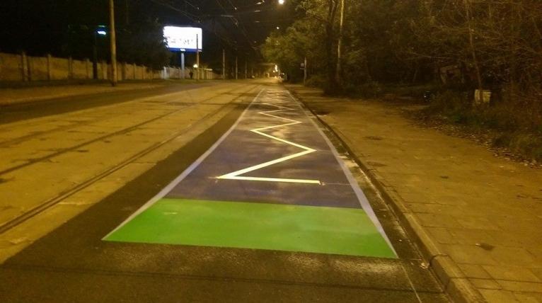 Pierwszy, trójwymiarowy próg spowalniający w Szczecinie. Fot. Dariusz Wołoszczuk/ Zarząd Dróg i Transportu Miejskiego w Szczecinie.
