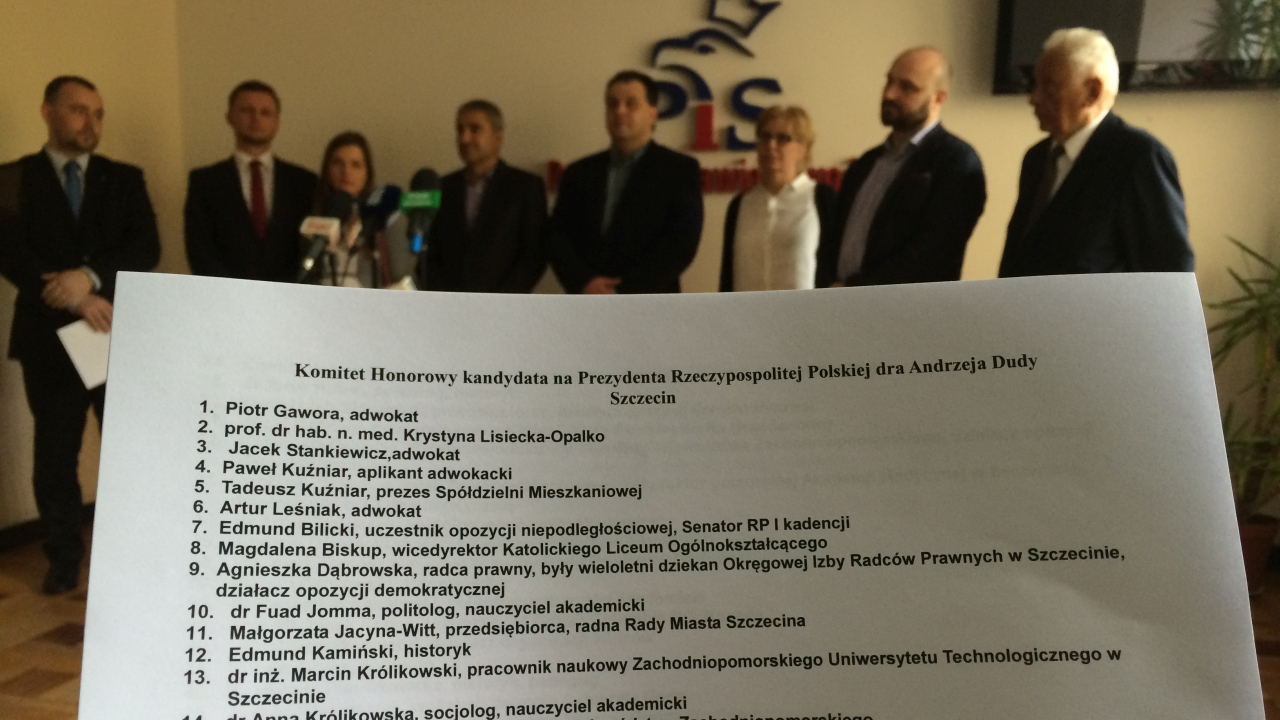 PiS przedstawił komitet honorowy poparcia Andrzeja Dudy