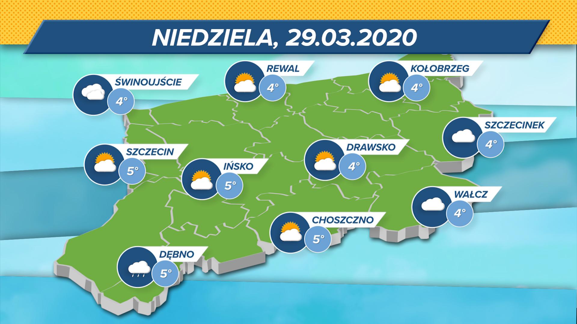 Nad regionem spore zachmurzenie i możliwe przelotne opady deszczu. Temperatury w Zachodniopomorskiem wyniosą od 4 do 5 stopni Celsjusza.